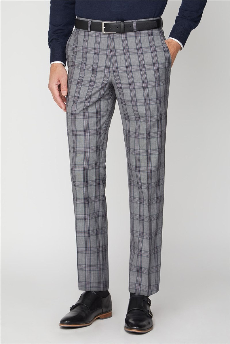 Grey Pink Check Regular Fit Suit Trousers