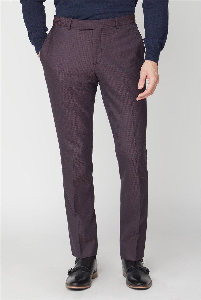 Burgundy Dogtooth Tailored Fit Suit Trouser