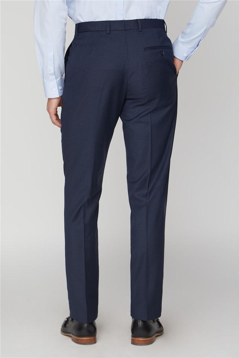 Blue Mini Check Tailored Fit Suit