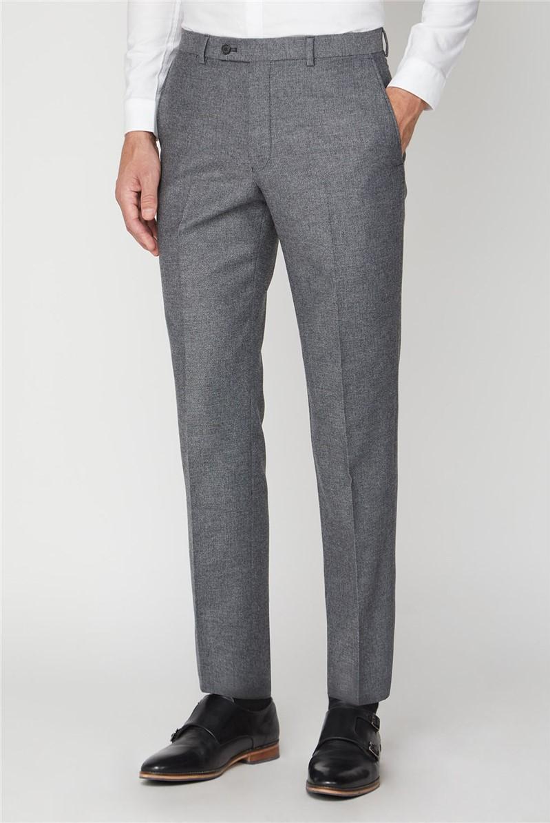 Grey Herringbone Tailored Fit Trouser