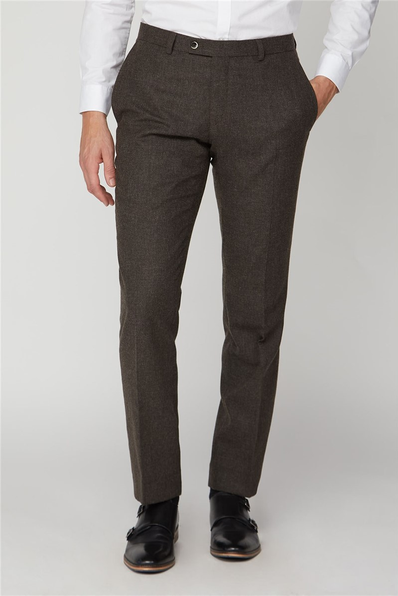 Brown Flannel Tailored Trousers
