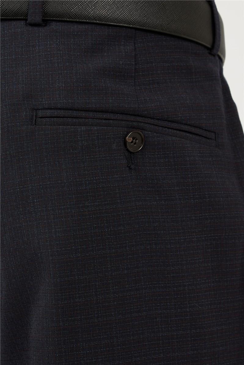 Tailored Fit Navy Rust Semi Plain Suit Waistcoat