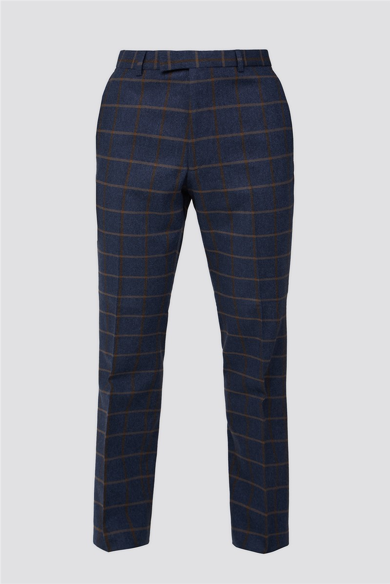 Blue Tan Check Tweed Tailored Fit Suit
