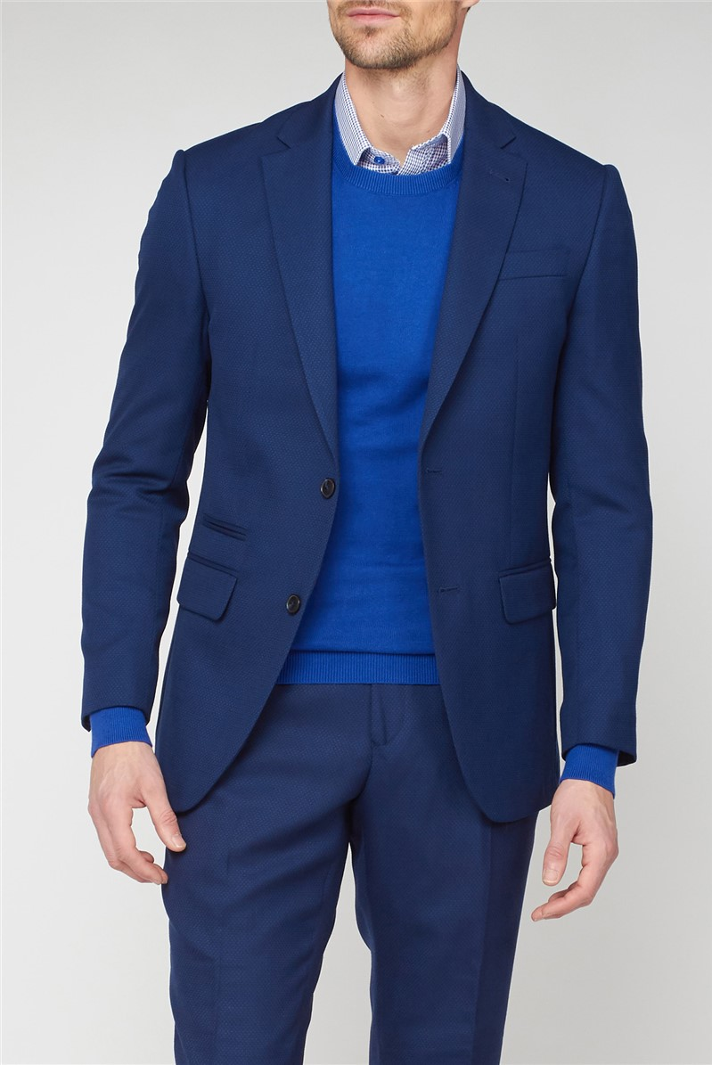 Blue Textured Regular Fit Suit