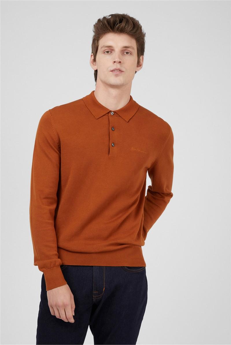 Caramel Long Sleeve Knitted Polo