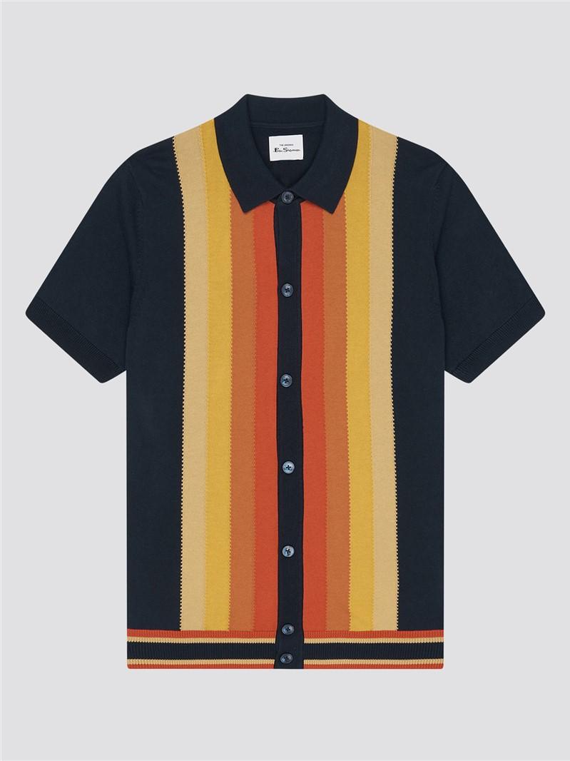 Button Through Mod Stripe Polo Shirt
