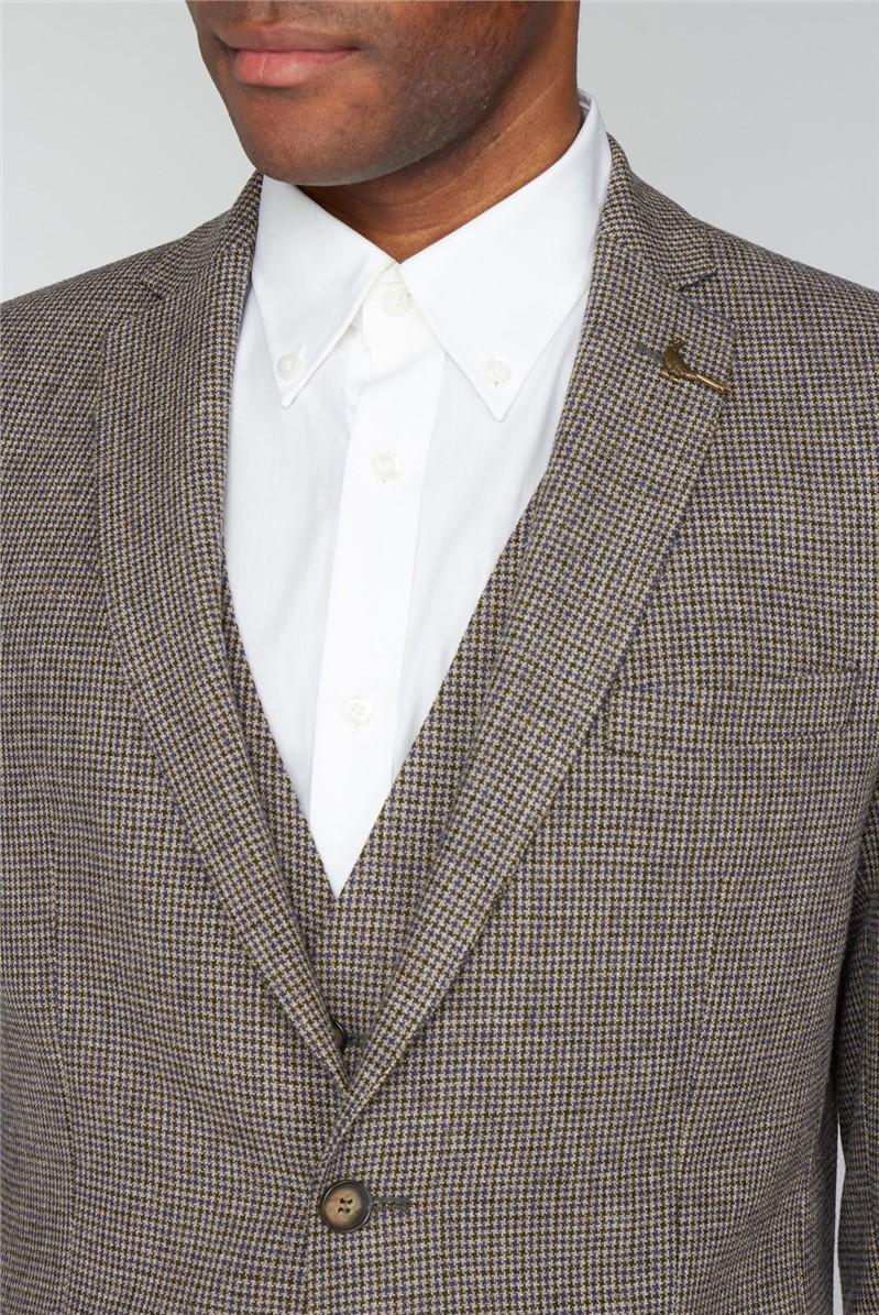 Taupe Herringbone Puppy Tooth Suit