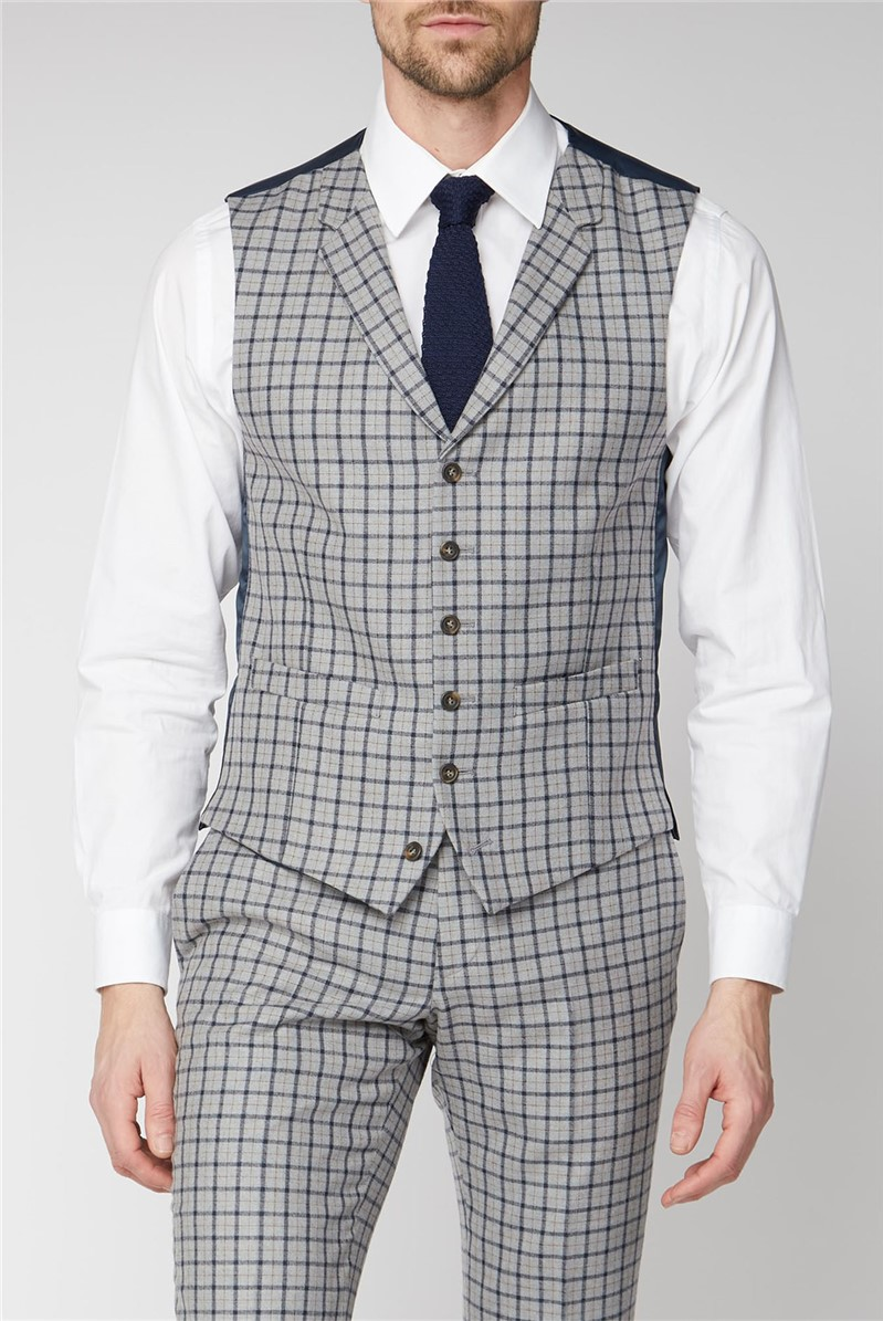 Grey with Navy Check Tailored Waistcoat