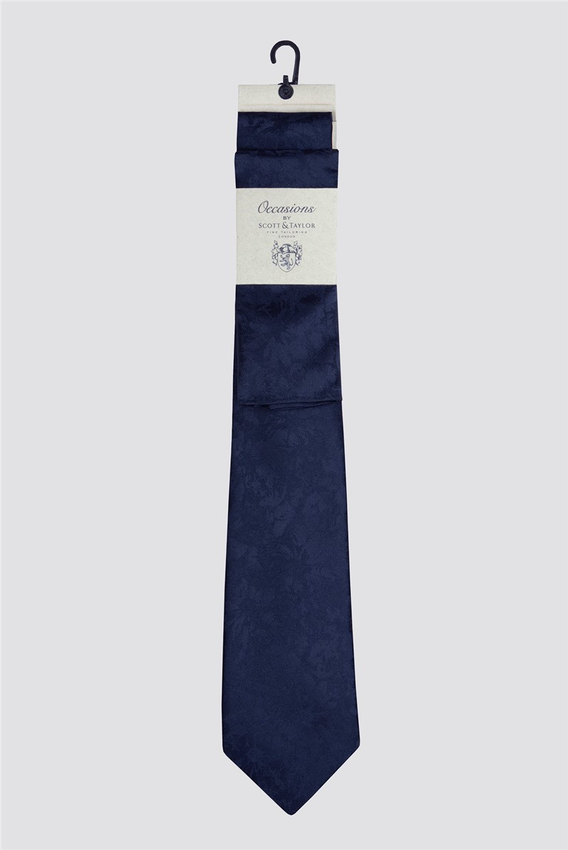 Occasions Navy Tonal Floral Tie & Hank Set