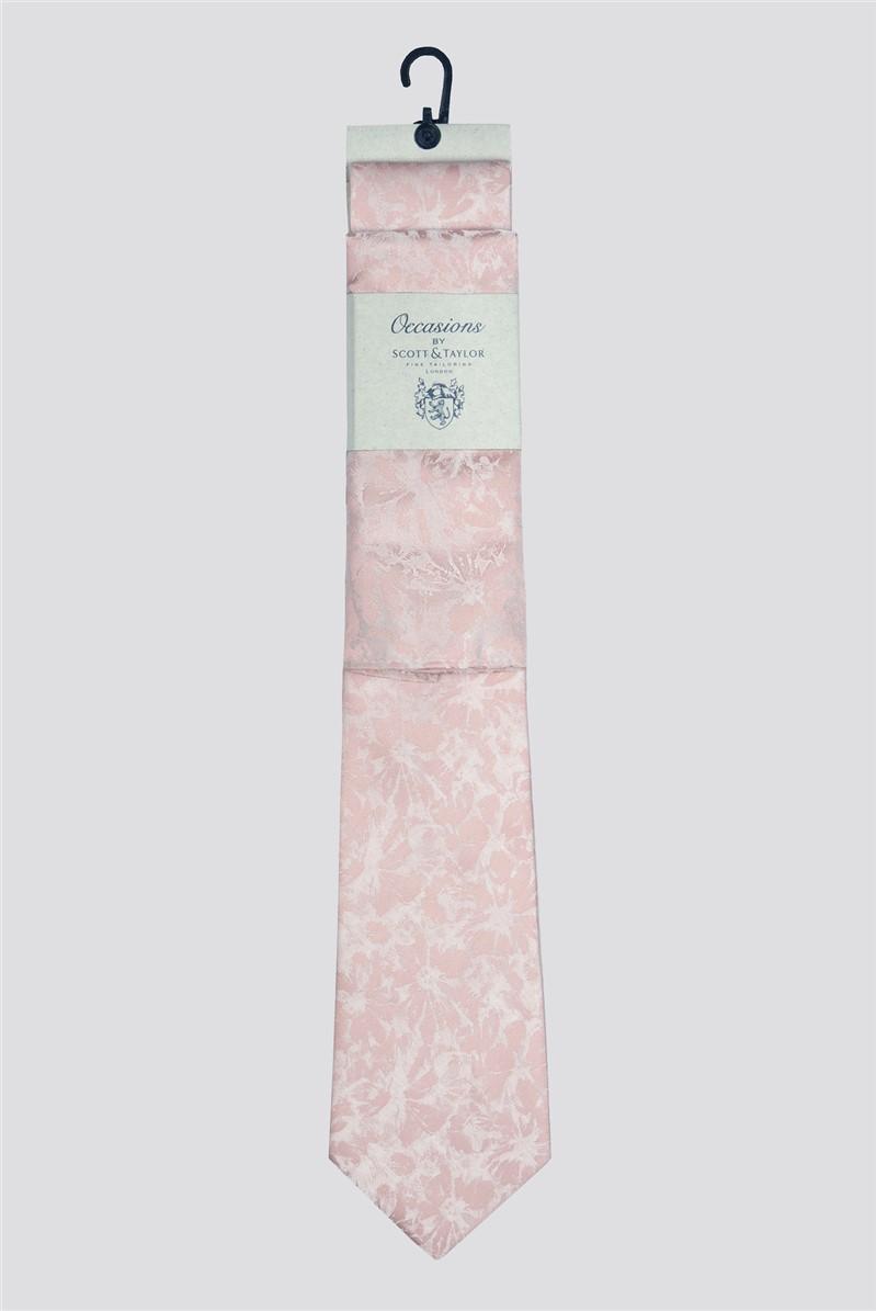 Occasions Dusky Pink Tonal Floral Tie & Hank Set