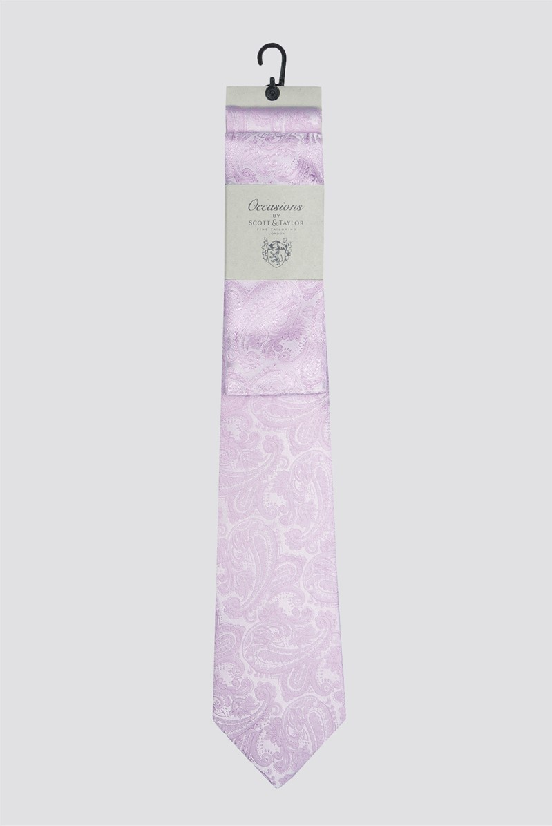 Occasions Pink Paisley Tie & Pocket Square Set