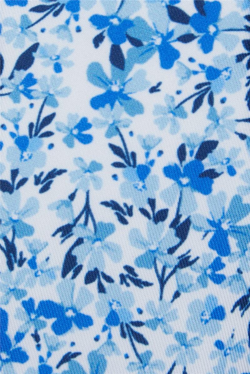 Light Blue Tonal Floral Print Tie