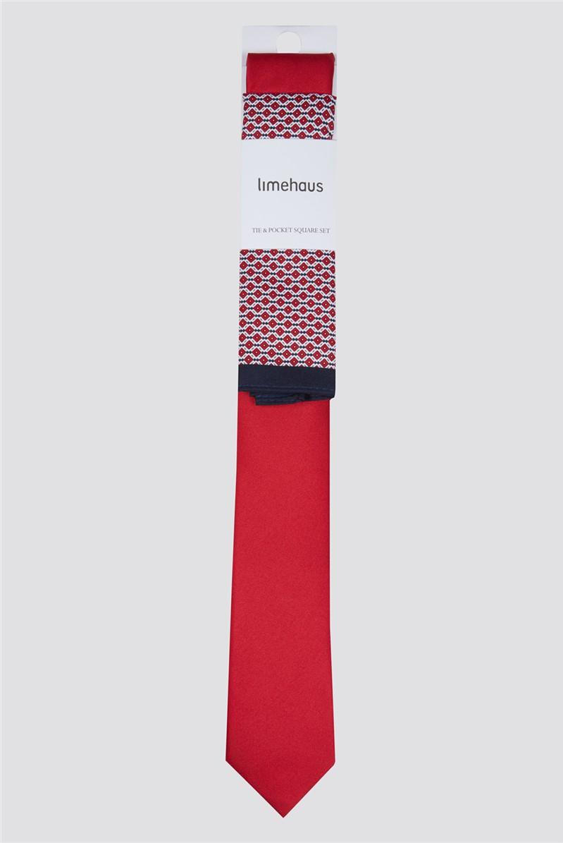 Red Tie & Geo Hank Set