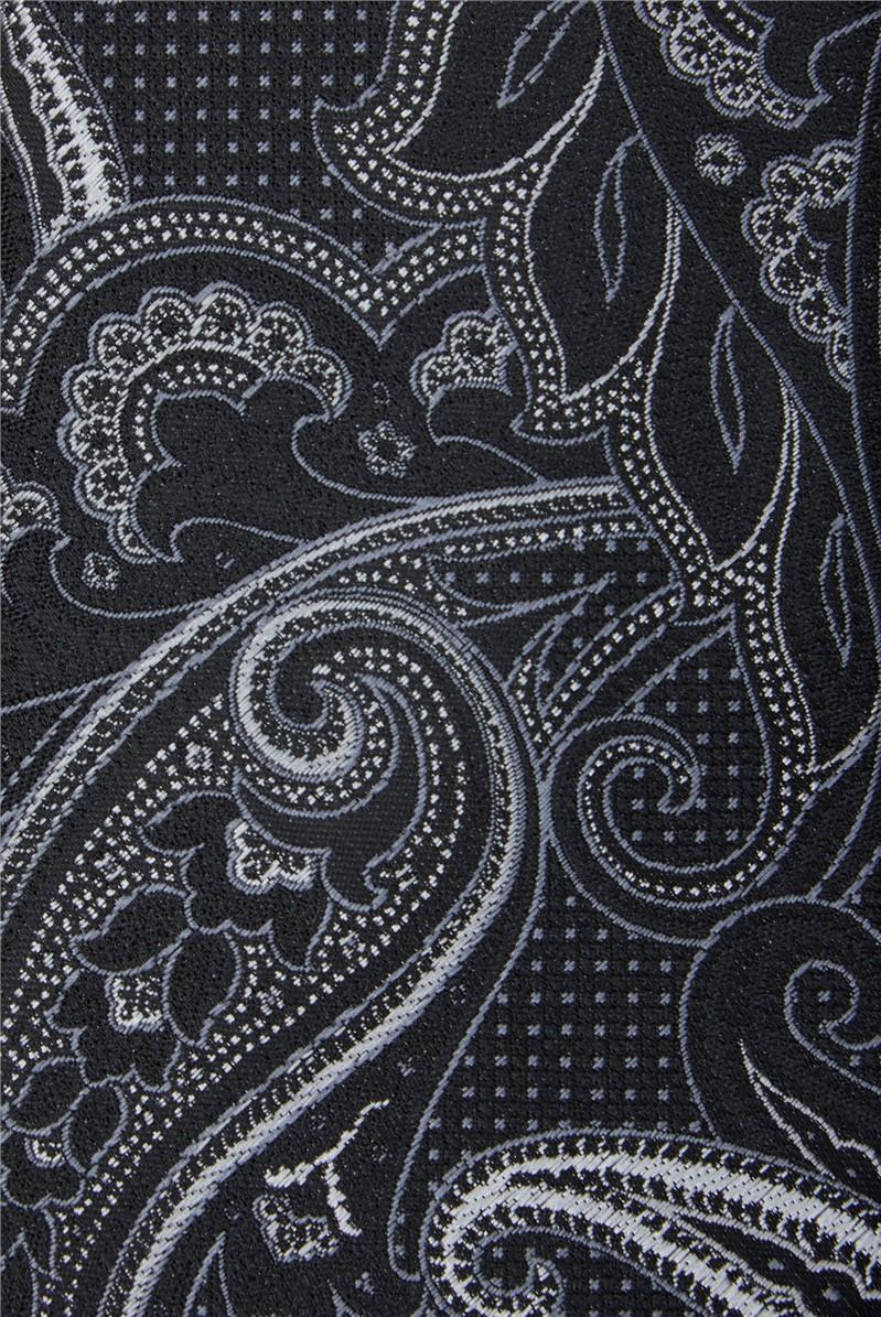 Black Textured Paisley Tie