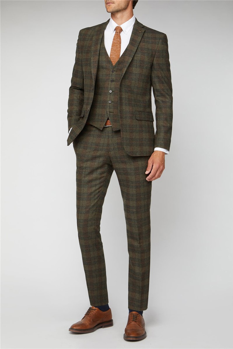 Green Tweed Heritage Check Tailored Fit Suit