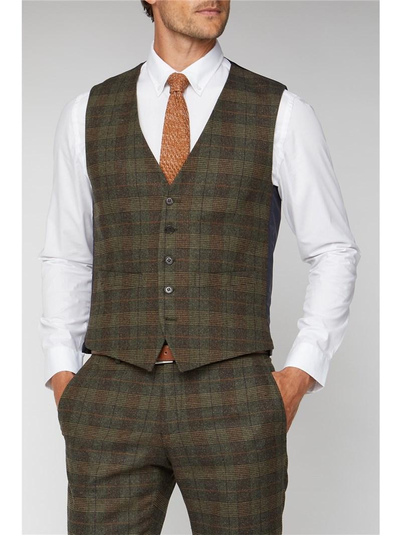 Green Tweed Heritage Check Waistcoat