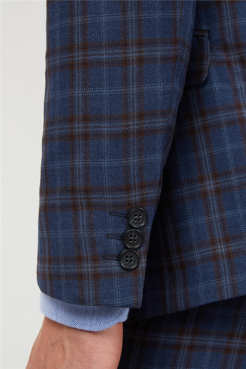 Blue Warm Checked Suit Trousers