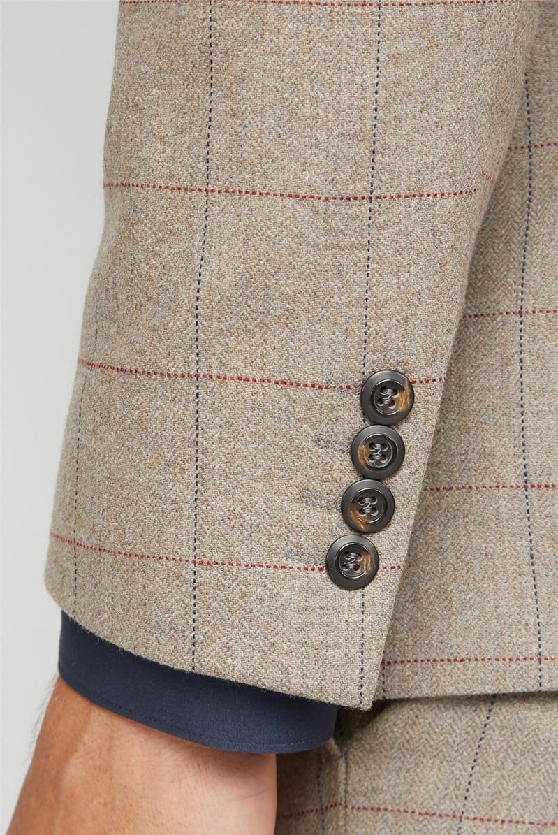 Oatmeal Herringbone Check Tweed Tailored Trousers