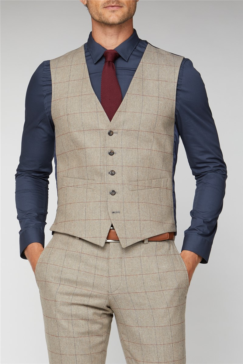 Oatmeal Herringbone Check Tweed Waistcoat
