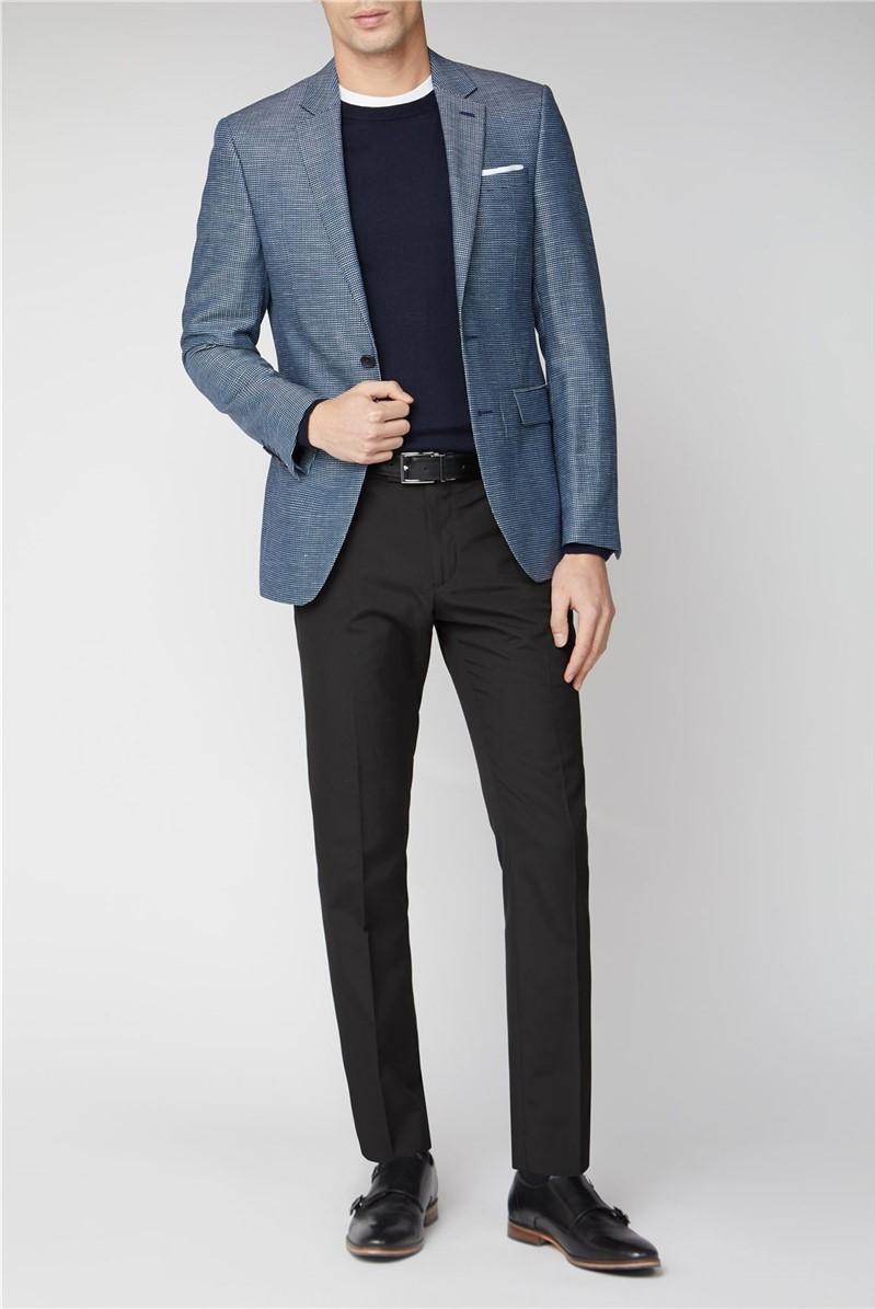 Branded Two Tone Blue Grey Dobby Blazer Suitdirect Co Uk