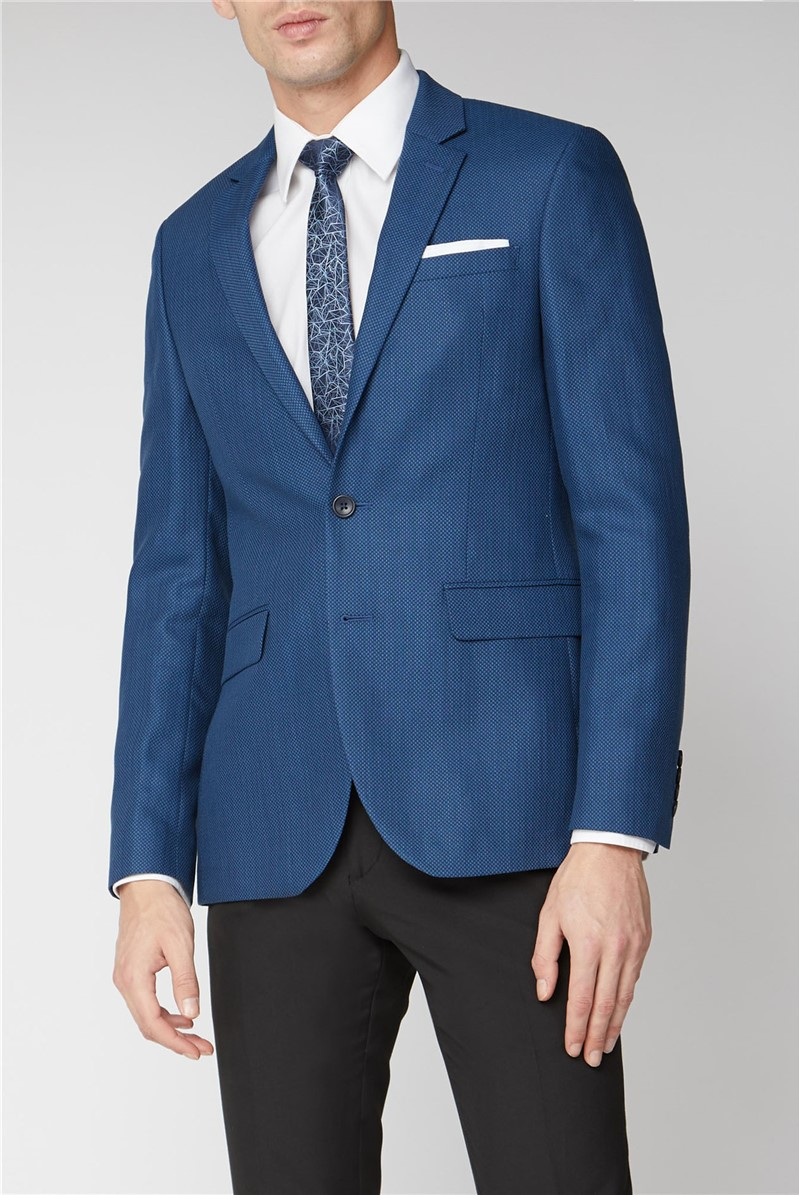 Branded Blue Grid Textured Mens Suit Jacket Suitdirect Co Uk