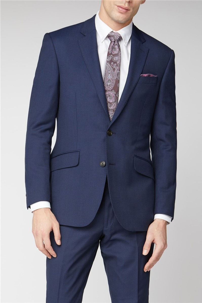 Branded Navy Blue Birdseye Textured Suit Suitdirect Co Uk