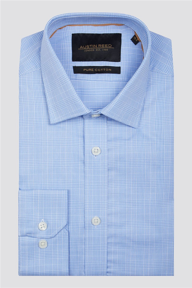 Branded Blue White Pow Checked Button Up Shirt Suit Direct