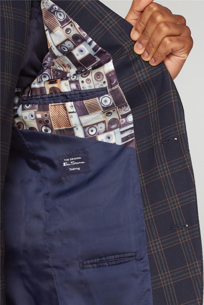Navy Caramel Check Slim Fit Suit Waistcoat
