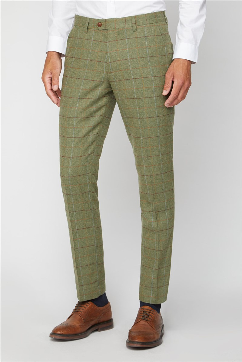 Marc Darcy Ellis Moss Green Check Trouser
