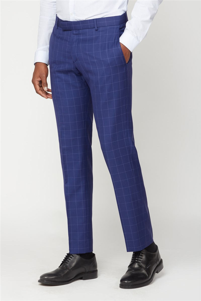 Blue Windowpane Checked Suit Trousers