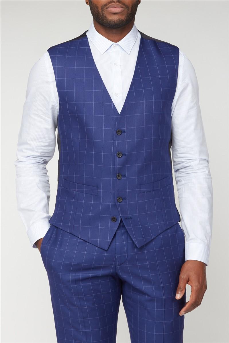 Blue Windowpane Checked Waistcoat
