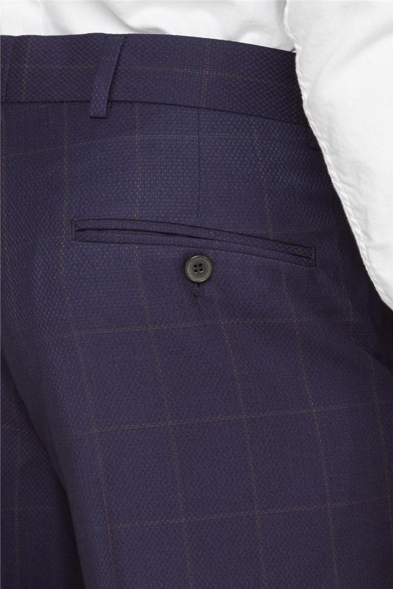 Men's Navy Rust Windowpane Checked Waistcoat