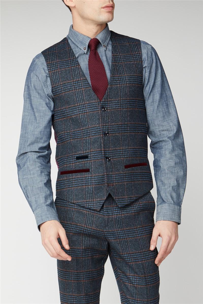 Luca Navy Check Tweed Waistcoat