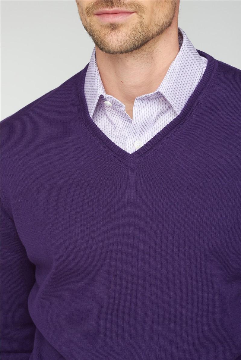 Purple V Neck Jumper
