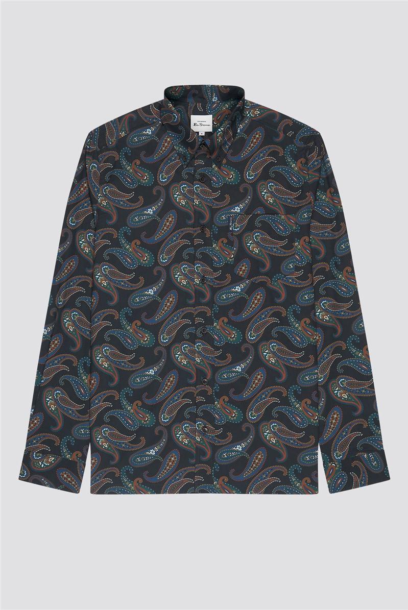 Large Midnight Paisley Print Shirt