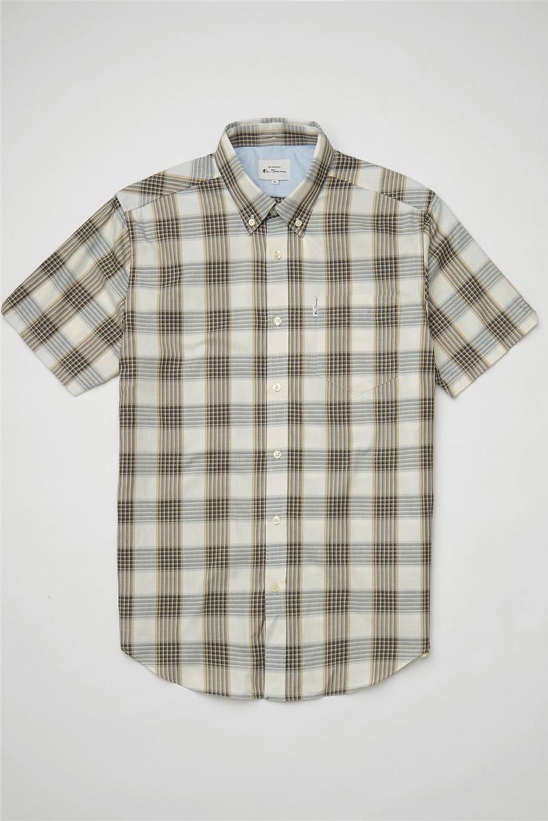 Ivory Twill Checked Shirt