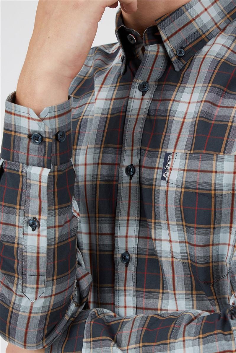 Light Blue Textured Checked Shirt