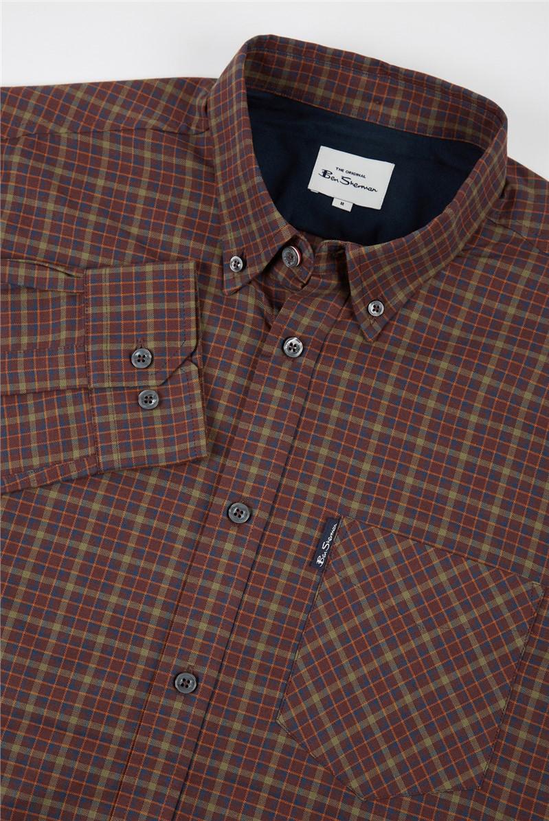 Bordeaux Multicoloured Oxford Checked Shirt