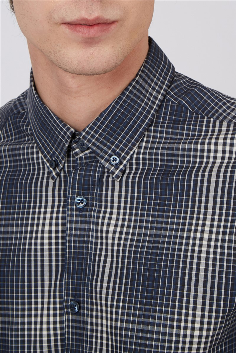 Ivory Gradient Checked Shirt