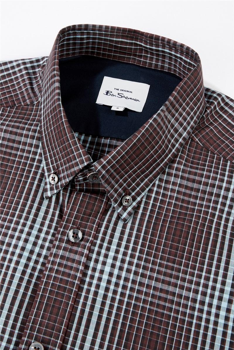 Bordeaux Gradient Checked Shirt