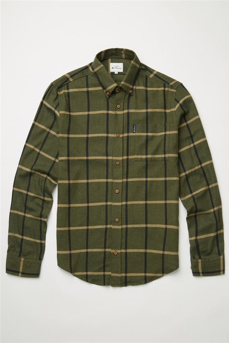 Hemp Herringbone Oversized Checked Shirt