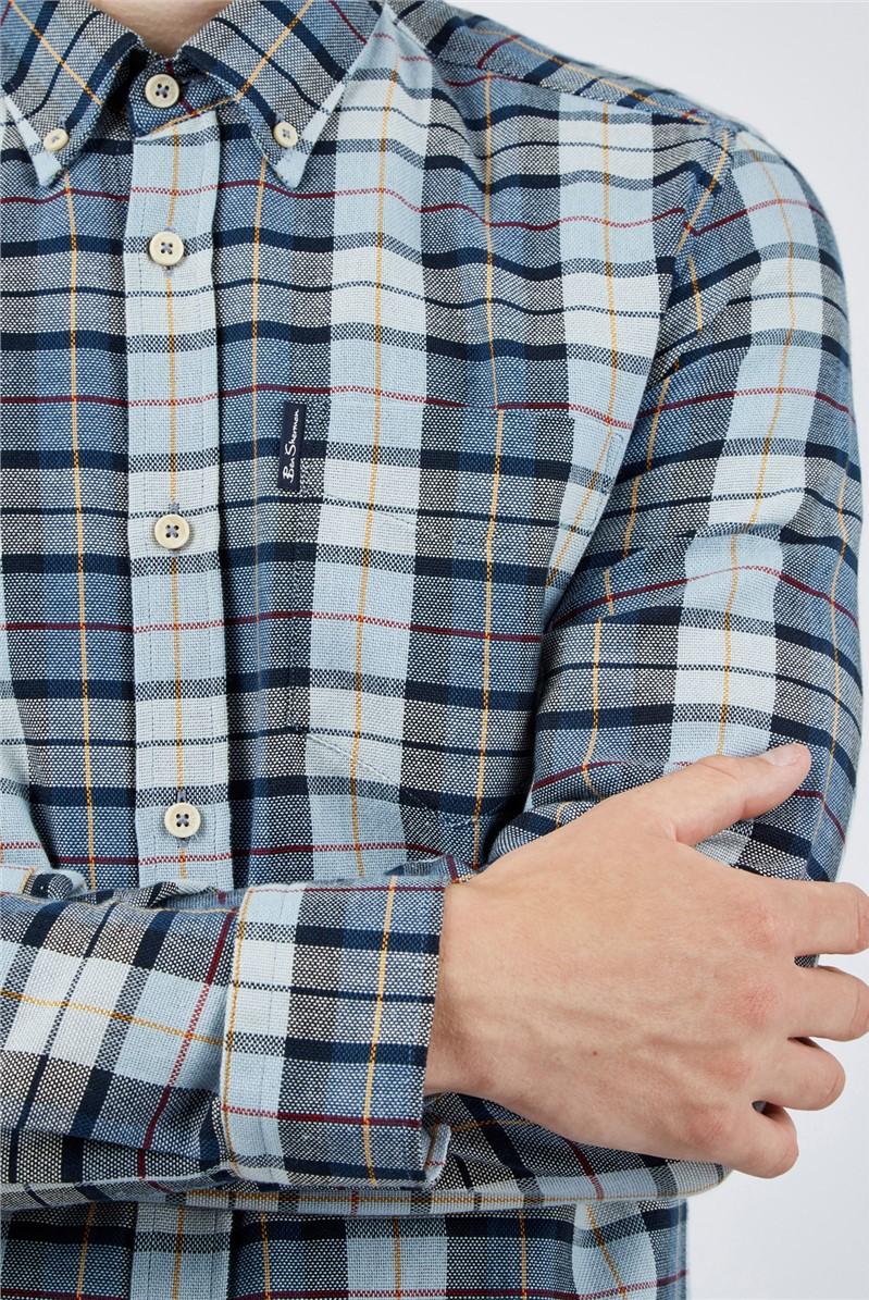 Light Blue Striped Checked Shirt
