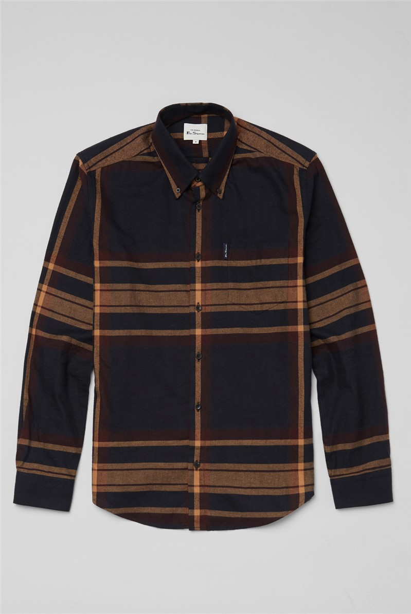 Oversized Caramel Tartan Checked Shirt