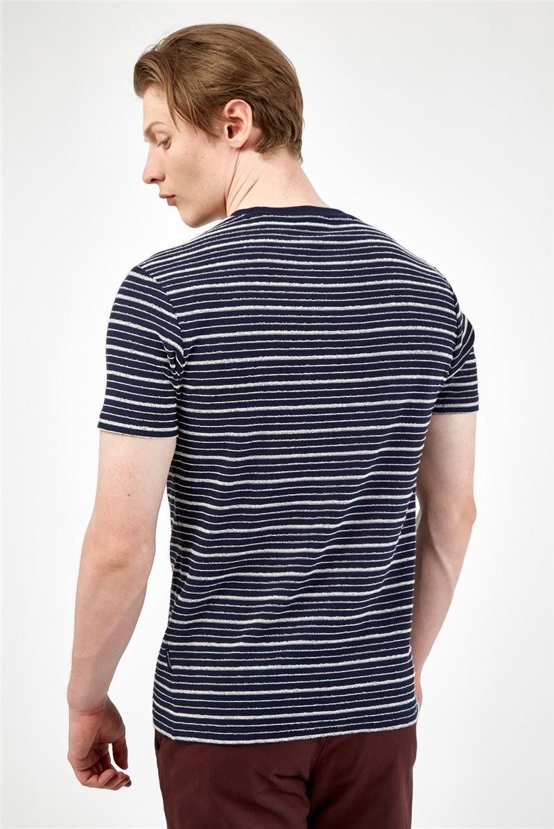 Textured Marine Blue Stripe T-Shirt