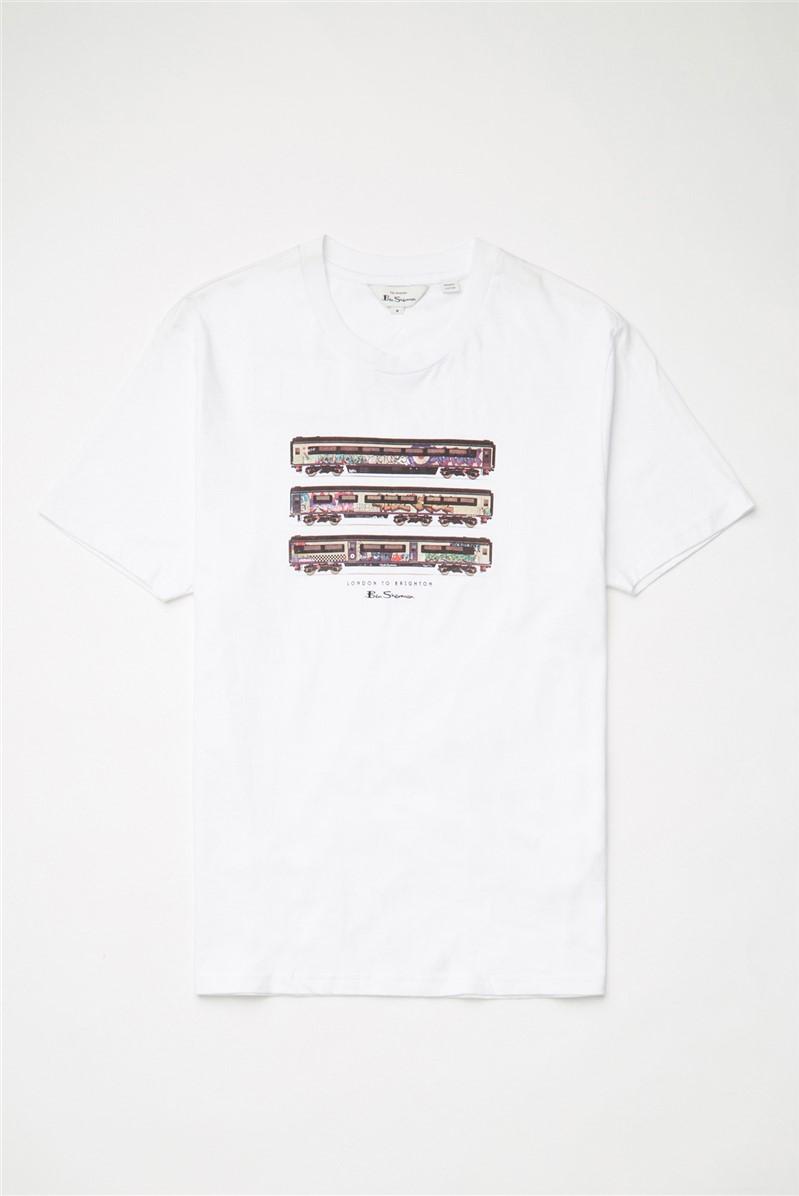 White Train Stack T-Shirt