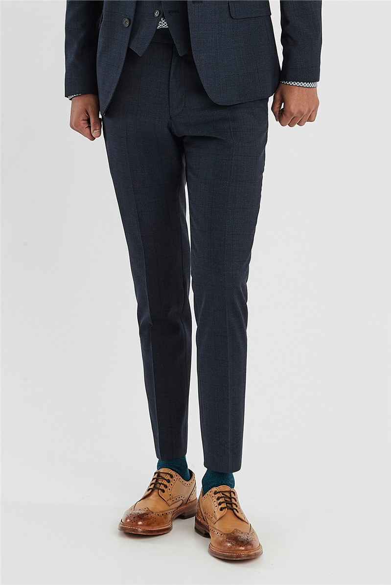 Navy Checked Slim Fit Suit
