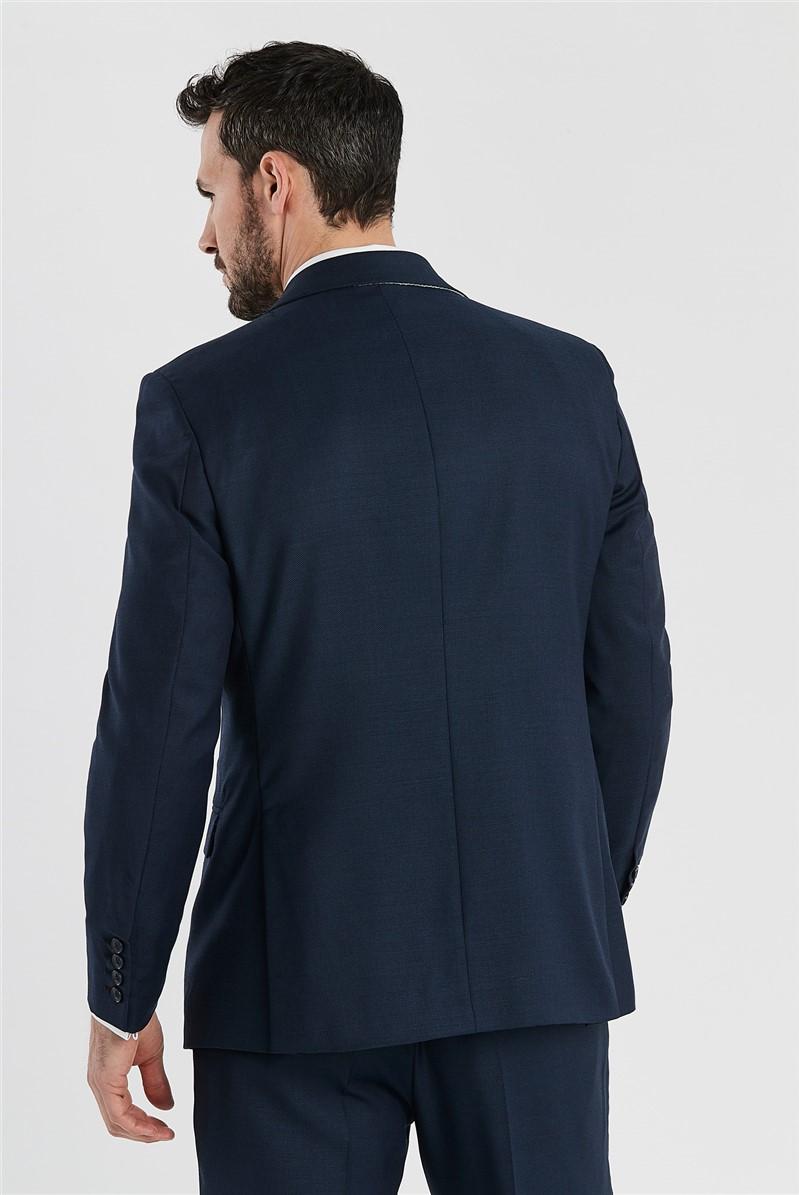 Deep Blue Birdseye Regular Fit Suit Waistcoat