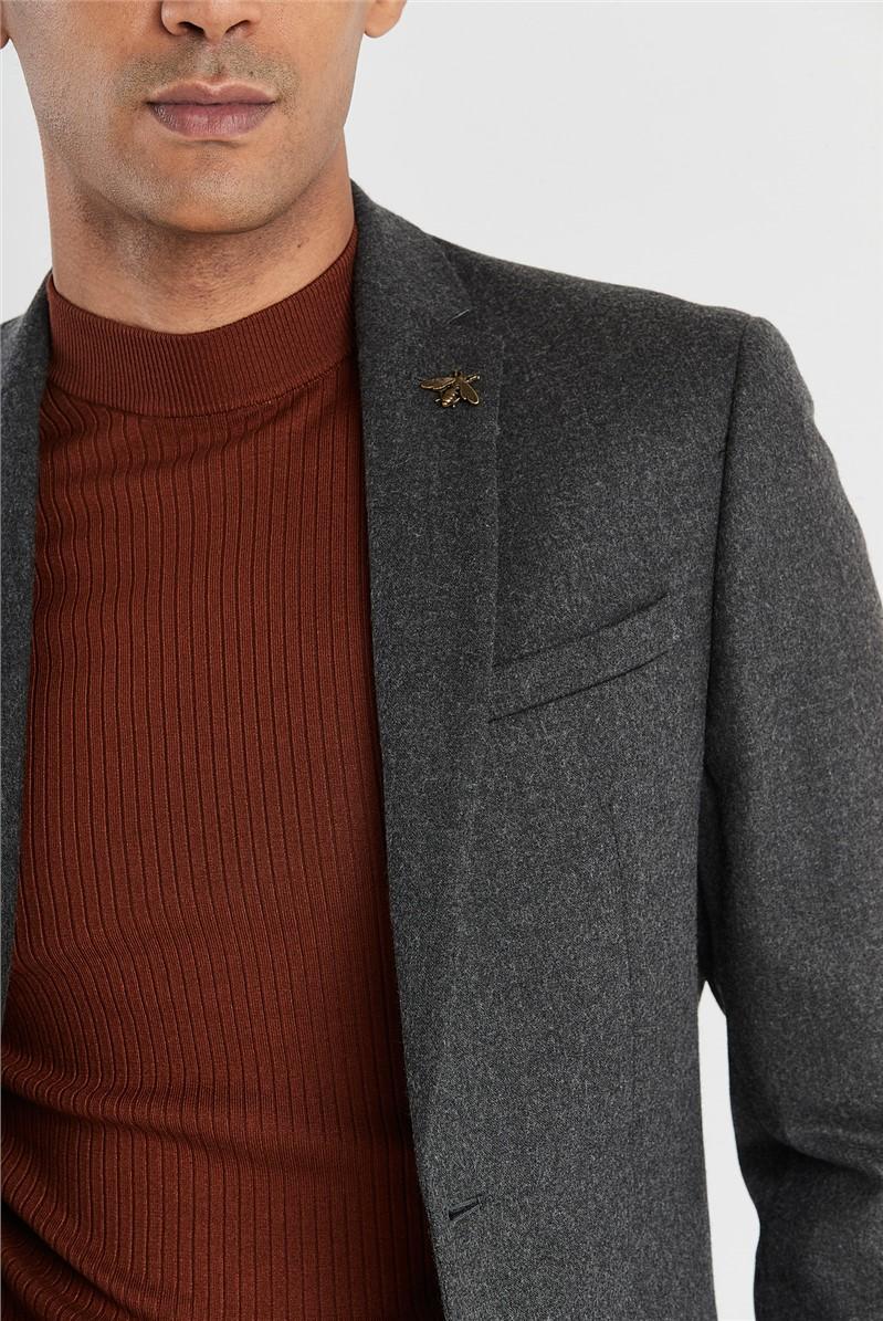 Grey Brushed Flannel Slim Fit Suit Jacket