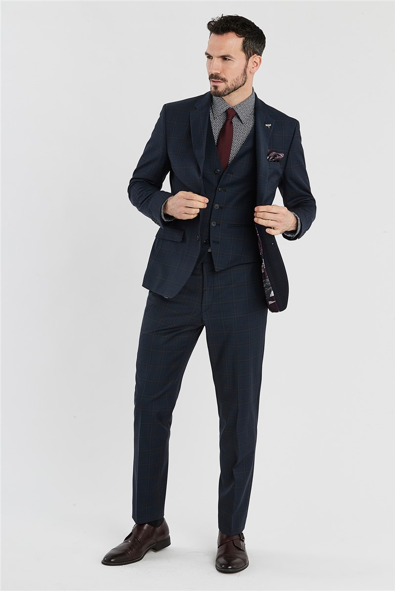 Navy Brushed Check Regular Fit Suit