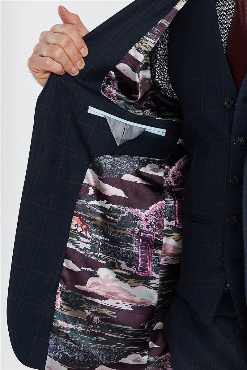 Navy Brushed Check Regular Fit Suit